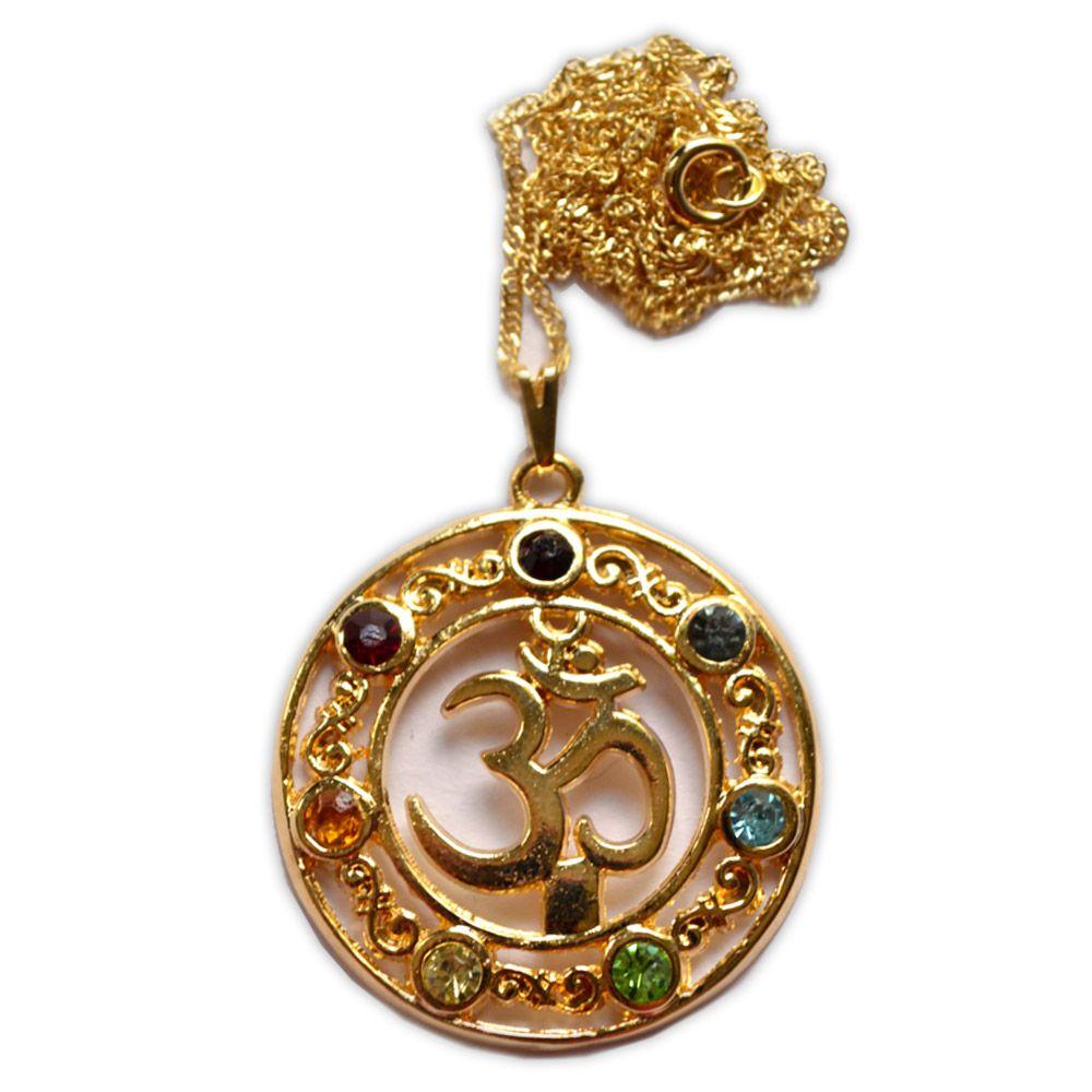Talismã Colar OM Chakras - Dourado com pedras