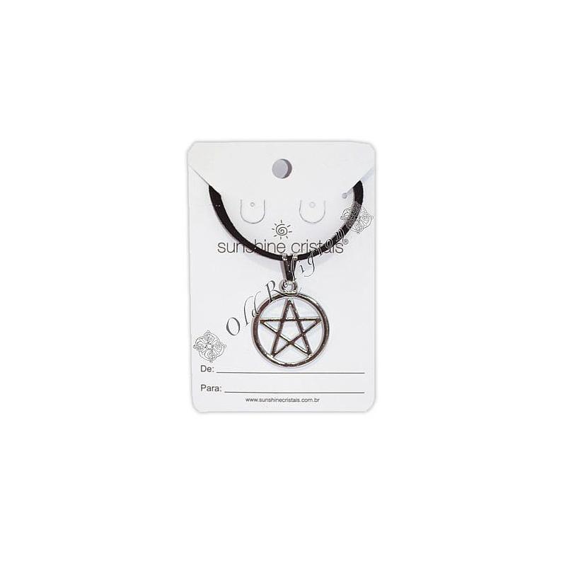 Talismã Pentagrama - Prateado com Cordão de Couro Sintético