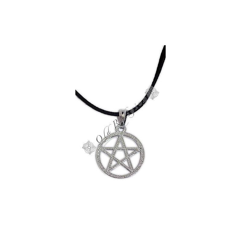 Talismã Pentagrama - Cordão de Couro Prateado