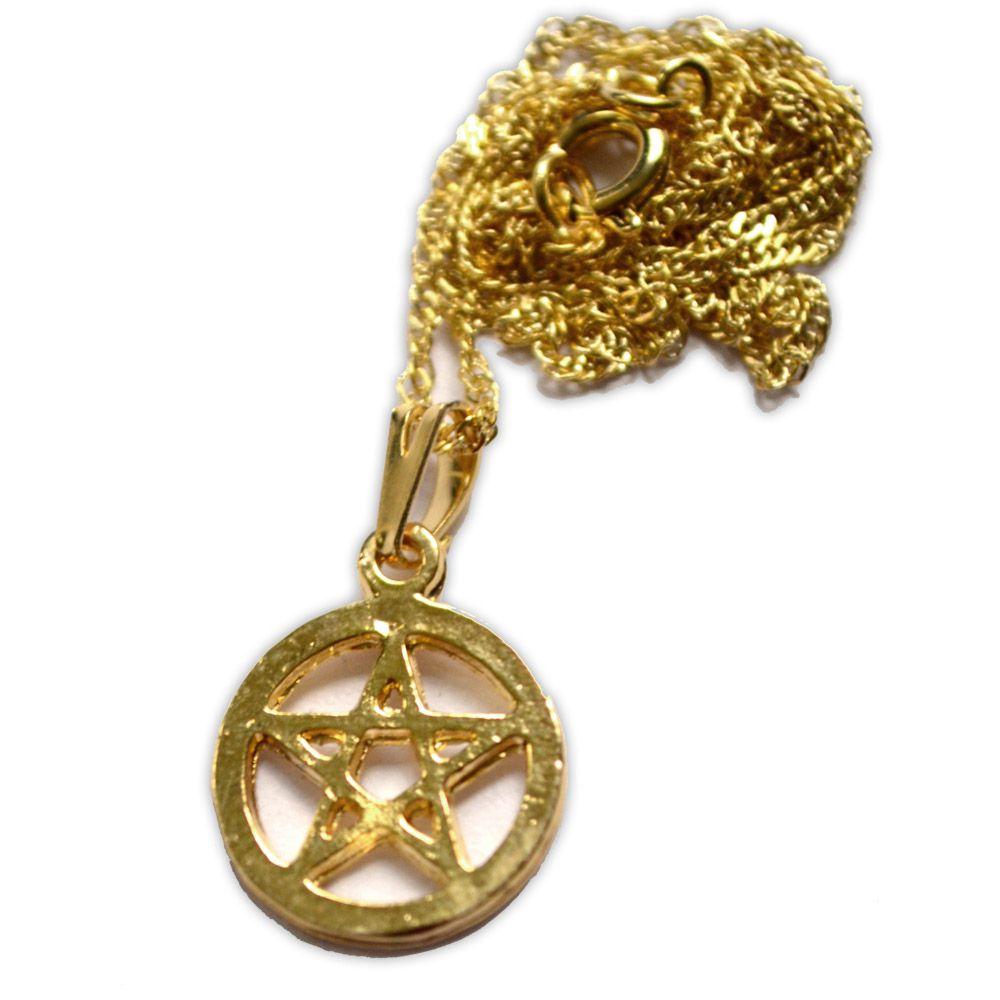 Talismã Colar Pentagrama, Proteção - Dourado Mini