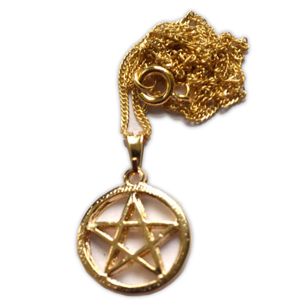 Talismã Colar Pentagrama, Proteção - Dourado Pequeno