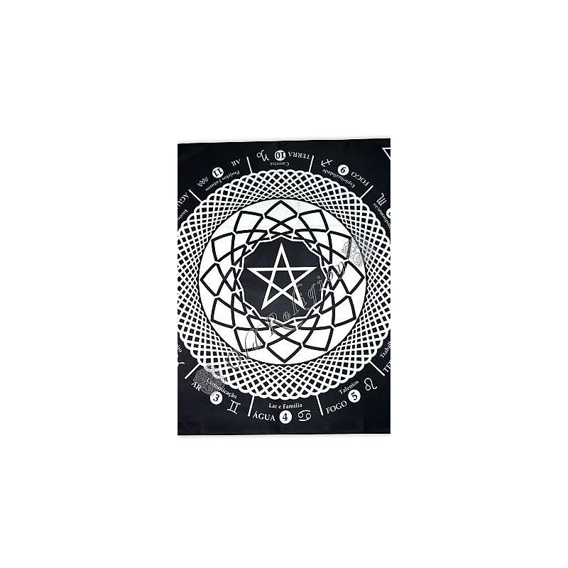 Toalha Mandala Astrológica Pentagrama - Preta
