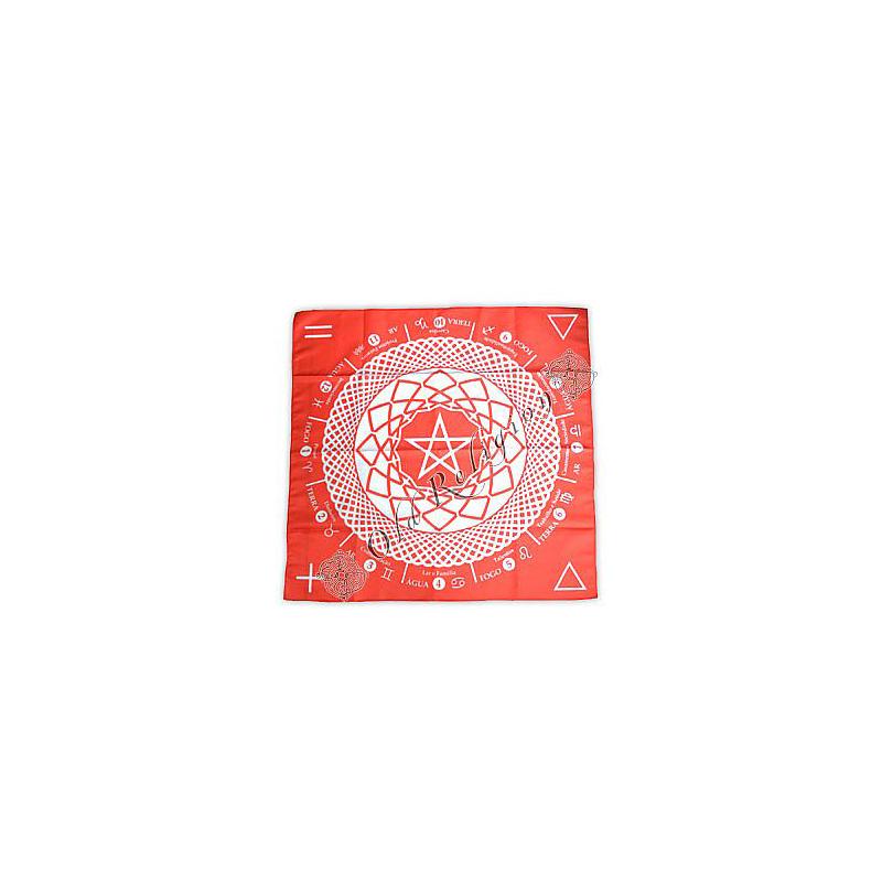 Toalha Mandala Astrológica Pentagrama - Vermelha