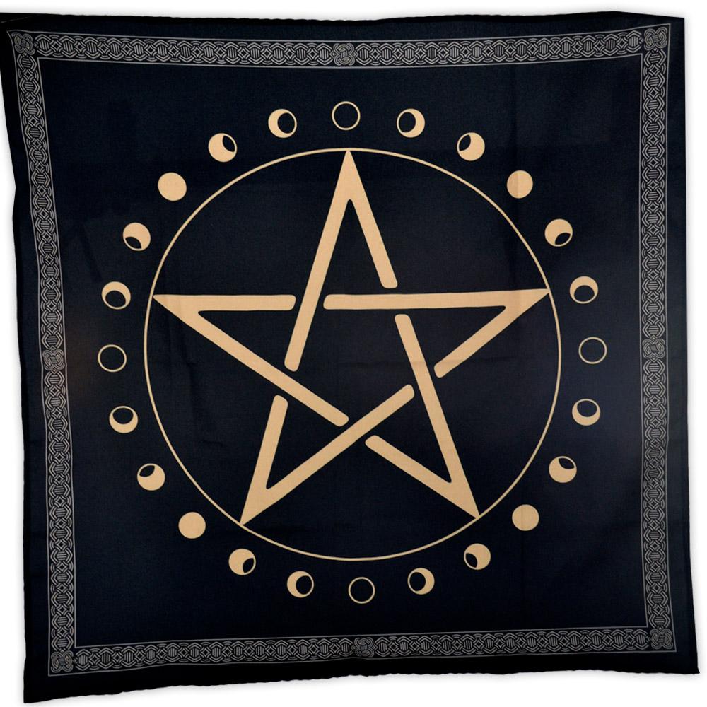 Toalha Pentagrama com Fases da Lua - Preta