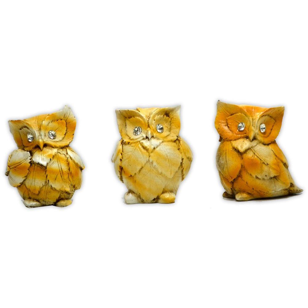 Trio Mini Corujas, Símbolo da Sabedoria - Envelhecidas