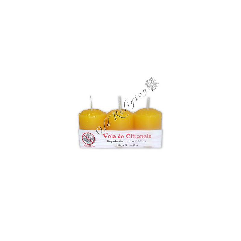 Vela Aromática de Citronela (peq) pacote com 3 unidades