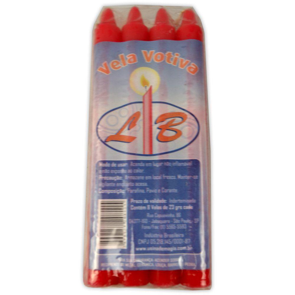 Vela Palito - Vermelha (pacte c/ 8)
