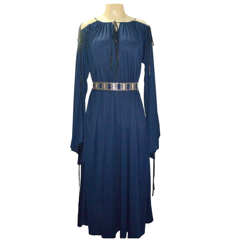 Vestido malha manga comprida - azul marinho