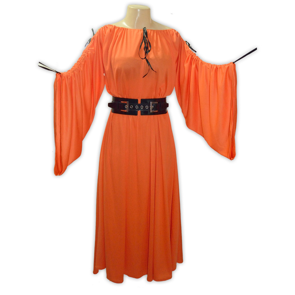 Vestido malha manga comprida - laranja