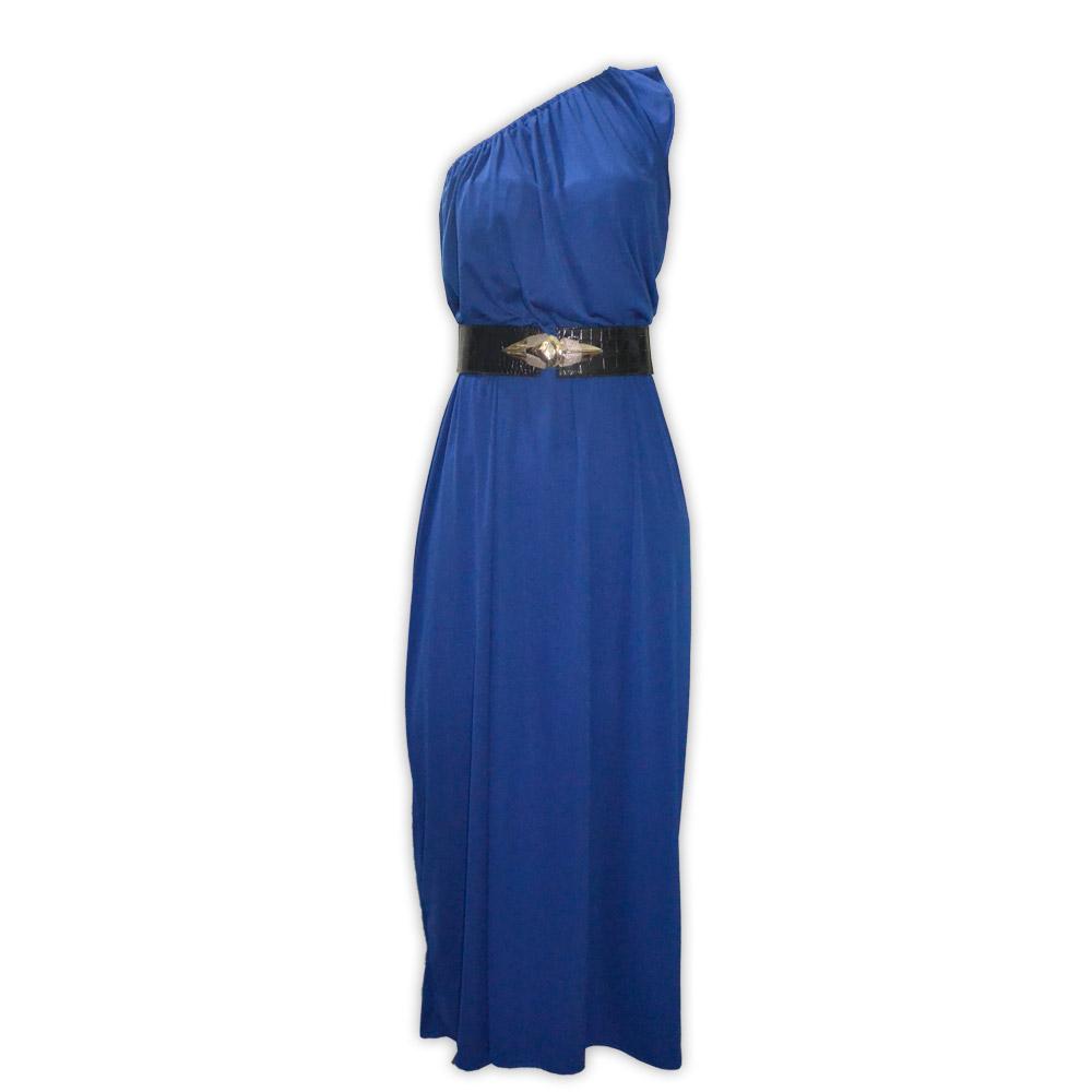 Vestido malha um ombro só - azul royal