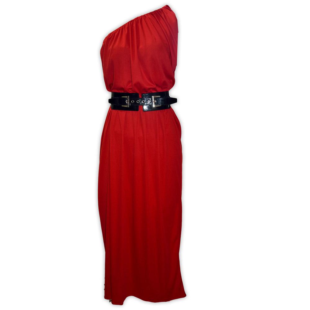 Vestido malha um ombro só - vermelho