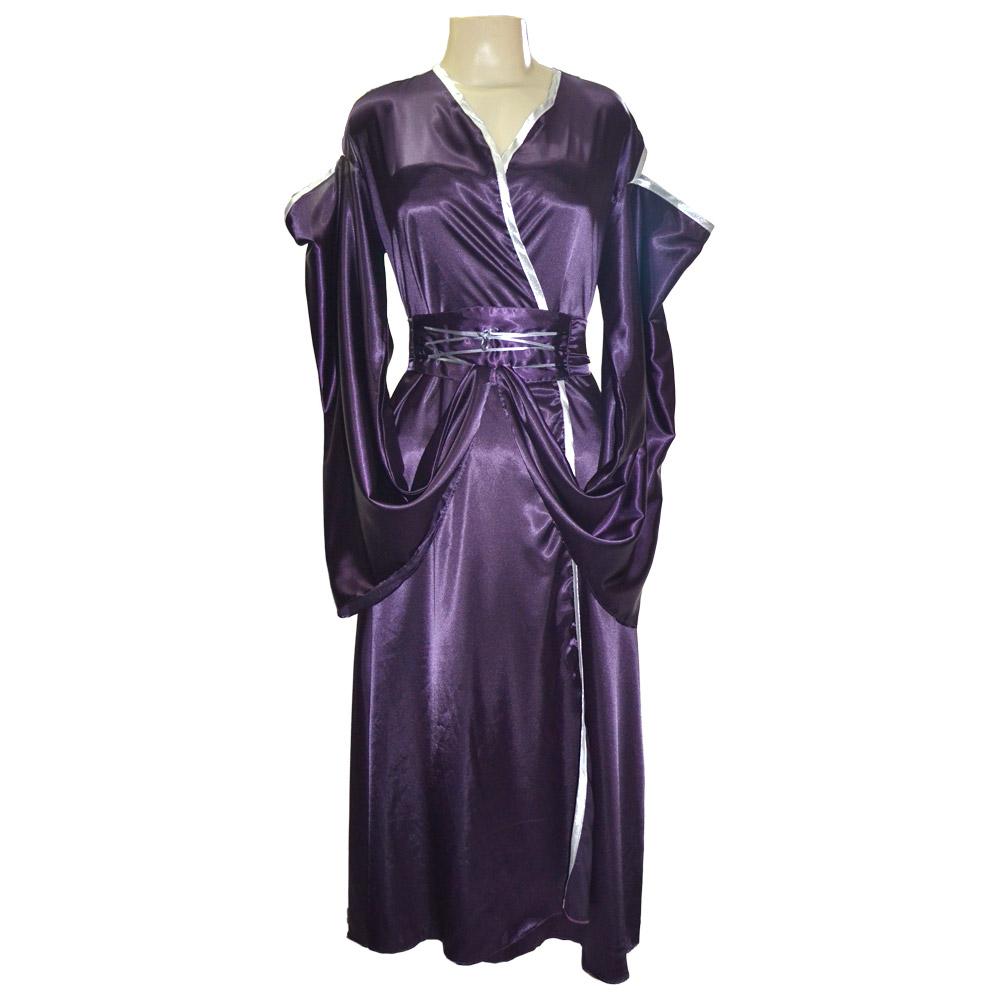 Vestido cetim pitonisia - roxo