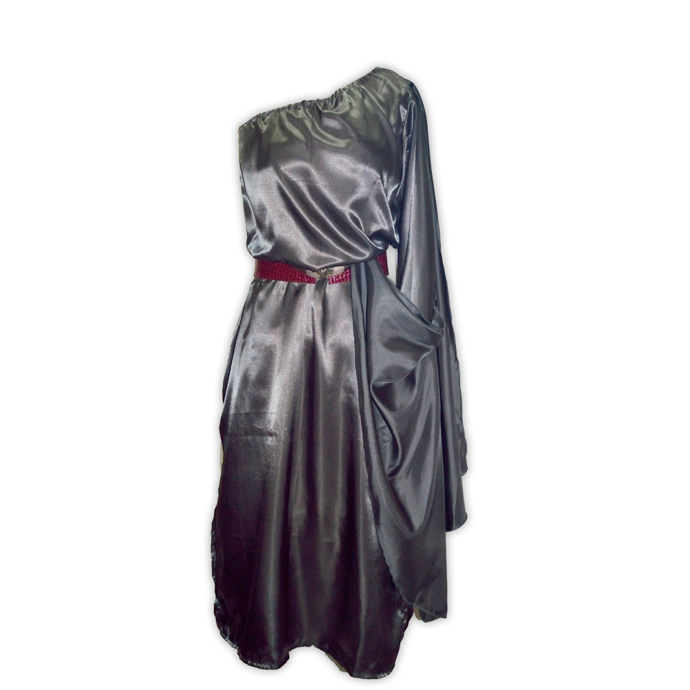 Vestido cetim valquiria cinza