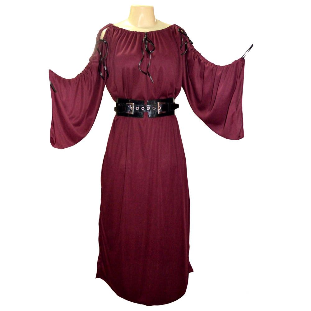 Vestido malha manga comprida - vinho