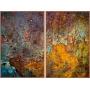 Conjunto de Quadros Decorativos para Sala Abstratos com Moldura em Estilo Ferro Corroído - RUBI