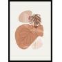 Quadro Decorativo Sem Vidro Abstrato Floral Minimalista com Tons Neutros