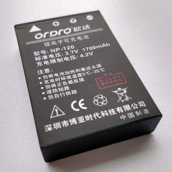 Bateria NP-120 Para Filmadora Ordro HDR-AC1 HDR-AC3 HDR-AC5 HDR-AZ50 HDV-V12 HDV-D395 HDV-V7 HDV-V7 PLUS e Várias Outras Marcas e Modelos