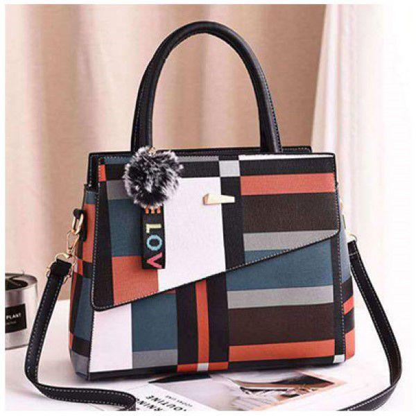 Bolsa de Ombro e Mão Moda Feminina Bag Listrada Designer Elegante Versátil Casual Preta (QBA)