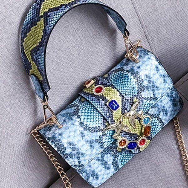 Bolsa de Ombro e Mão Moda Feminina Versátil Estilo Casual Fashion Azul (QBA)