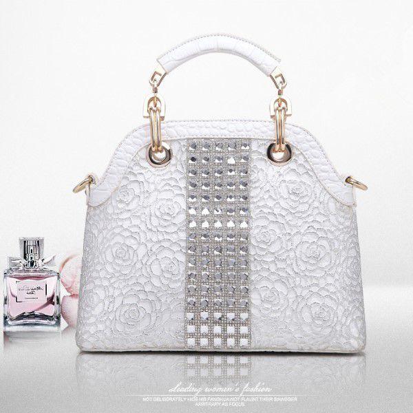 Bolsa de Ombro e Mão Strass Moda Feminina Versátil Estilo Casual Fashion Branca (QBA)
