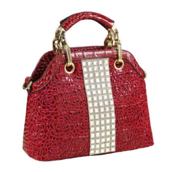 Bolsa de Ombro e Mão Strass Moda Feminina Versátil Estilo Casual Fashion Vermelha (QBA)