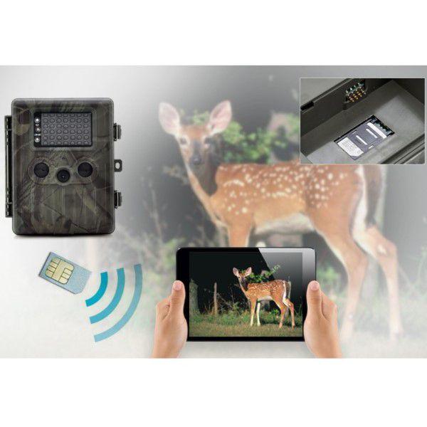 Câmera de Trilha V. Noturna Digital Painel Solar Full-HD 1080p 12MP SIM GSM MMS E-MAIL SD Até 32GB (BTO)