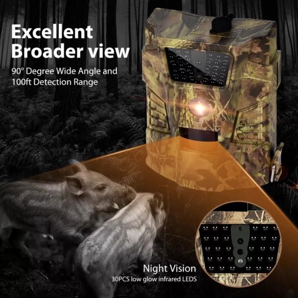 Câmera de Trilha Visão Noturna 12MP FullHD 1080p Foto e Vídeo Vigilância Segurança Interior Exterior Vida Selvagem Propriedade Campo Cidade