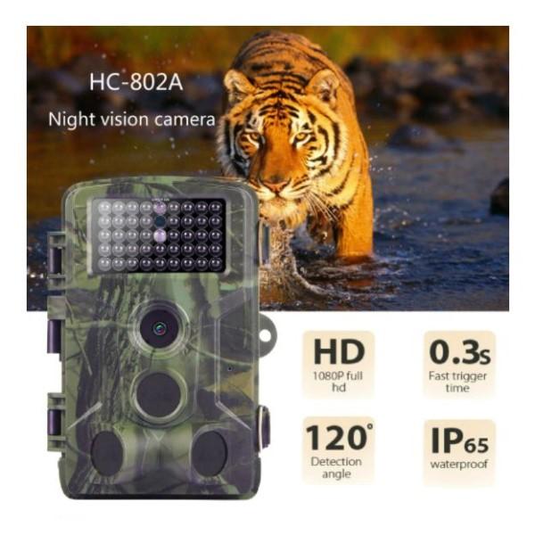 Câmera de Trilha Visão Noturna Full HD 1080p 16MP Foto Vídeo Vigilância Segurança Interior Exterior Vida Selvagem Propriedade Campo Cidade
