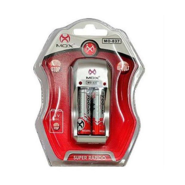 Carregador De Pilhas Bivolt 100 - 240v Com 2 Pilhas Aa Recarregáveis De 2700mah Compatível Com AA / AAA / Bateria 1x 9V