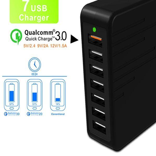 Carregador Hub Usb 7 Portas Switch Power Até 7 Dispositivos