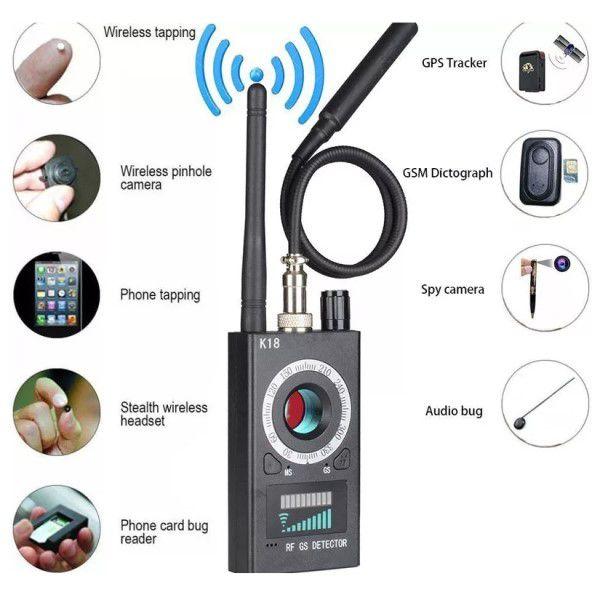 Detector Multifuncional Localizador de Dispositivos Escondidos Rastreador GPS Câmera Celular SIM GSM Áudio Vídeo Sinal RF Alarme Som e Luz