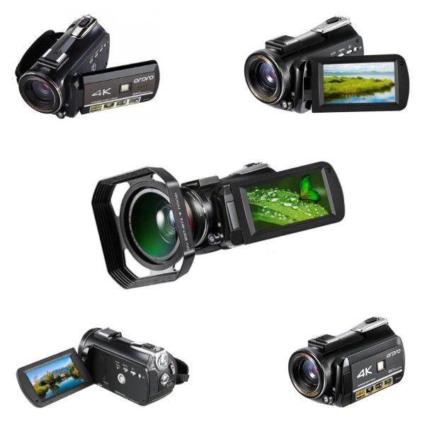 Filmadora Digital Ordro HDR-AC3 4K Wi-Fi Visão Noturna 30x Zoom 24MP Com Lente 2 em 1 Super Macro Grande Angular e Capuz Suporte Lente (BTO)