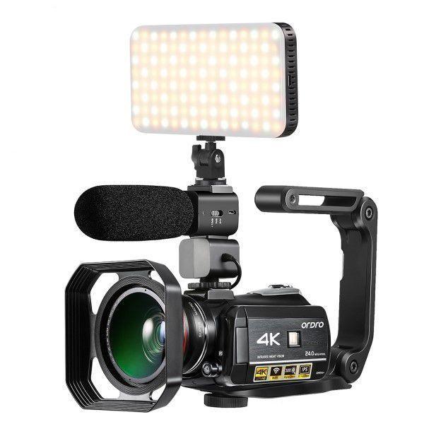 Filmadora Digital Ordro HDR-AC3 4K Wi-Fi Visão Noturna 30x Zoom 24MP Com Microfone Lente 2 em 1 Capuz Estabilizador e Iluminador LED (BTO)