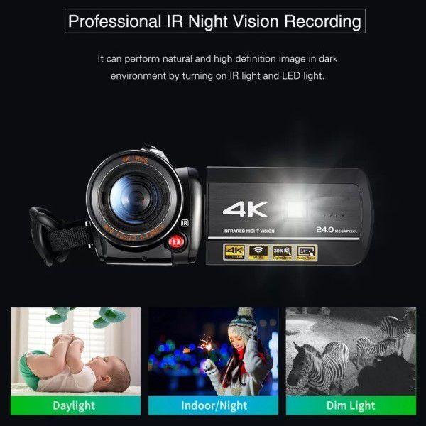 Filmadora Digital Ordro HDR-AC3 4K Wi-Fi V. Noturna 30x Zoom 24MP Com Microfone Lente 2 em 1 Macro Grande Angular Capuz Estabilizador (BTO)
