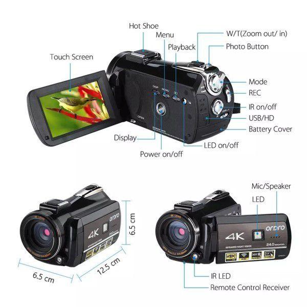 Filmadora Digital Ordro HDR-AC3 4K Wi-Fi Visão Noturna 30x Zoom 24MP Selfie Anti Vibração Com Estabilizador de Imagem Multifuncional (BTO)