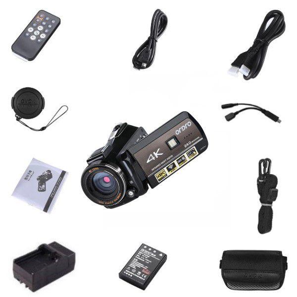 Filmadora Digital Ordro HDR-AC3 UHD 4K Wi-Fi V. Noturna 30x Zoom 24MP Touch Screen Selfie Det Rosto Controle Remoto Anti Vibração APP (BTO)