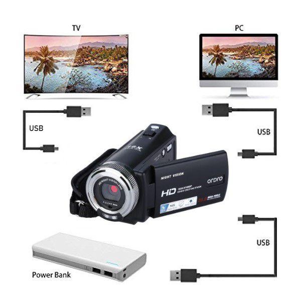 Filmadora Digital Ordro HDV-V12 Visão Noturna 20MP 16x Zoom Full-HD Selfie Anti-vibração Controle Remoto Detecção de Rosto (BTO)