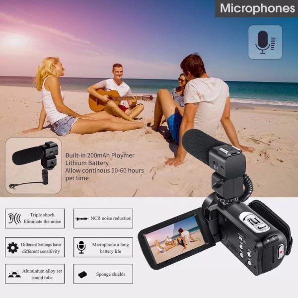 Filmadora Digital Ordro HDV-Z20 Wi-Fi Com Microfone Externo 16x Zoom 24MP Full-HD Selfie Detecção Rosto Controle Remoto Anti-vibração (BTO)