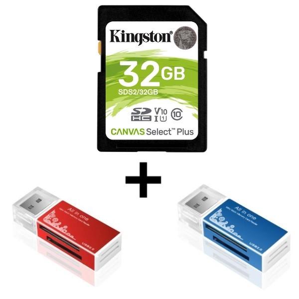 Kit 1x Cartão de Memória SD/SDS2 32GB Classe 10 Kingston Mais 2x Leitor de Cartão de Memória Universal USB Smart 4 em 1 e Função Pen Drive