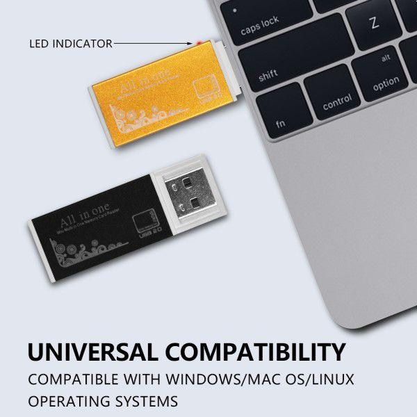 Kit 2x Leitor de Cartão de Memória Universal USB Smart 4 em 1 SDHC SDXC MMC/RS MMC MICRO SD/TF MS/MS PRO/MS DUO M2 DV e Função Pen Drive