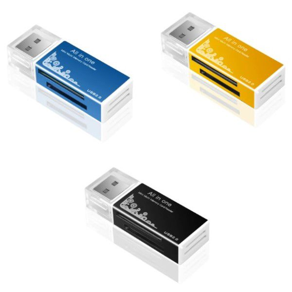 Kit 3x Leitor de Cartão de Memória Universal USB Smart 4 em 1 SDHC SDXC MMC/RS MMC MICRO SD/TF MS/MS PRO/MS DUO M2 DV e Função Pen Drive