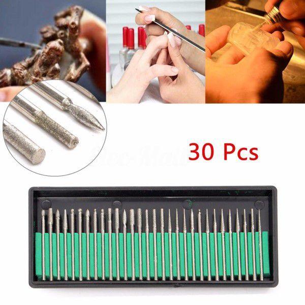Kit Brocas Aço HSS Fresas Esmeril Multifuncional 30pçs 2,35mm Ferramenta Rotativa Gravação Perfuração Limpeza Polimento Corte Lapidação