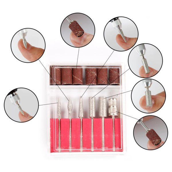 Kit Manicure e Pedicure Profissional Elétrica Rosa Máquina de Lixa Unhas Bivolt 110 a 240v Velocidade até 20.000 RPM Brocas e Acessórios