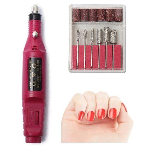 Kit Manicure e Pedicure Profissional Elétrica Vermelha Máquina de Lixa Unhas Bivolt 110 a 240v Velocidade até 20.000 RPM Brocas e Acessórios