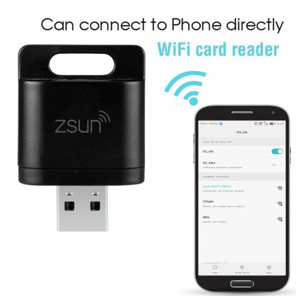 Leitor De Cartão Zsun Micro Sd Wi-fi Pen Drive Até 128gb App