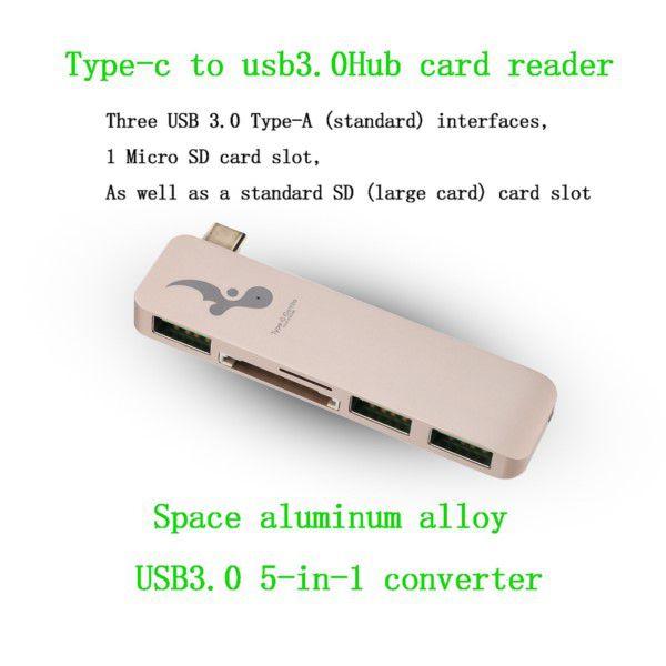 Leitor E Conector De Cartão Hub Usb 3.0 Para Usb-c 5 Em 1 Ideal Para Apple MacBook, Galaxy TabPro-S e Muitos Outros PCs Novos Tablets e Laptops