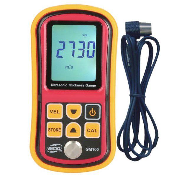 Medidor de Espessura BENETECH GM100 Ultrasônico Profissional LCD Digital Última Geração Medida de Precisão Calibração Automática (BTO)