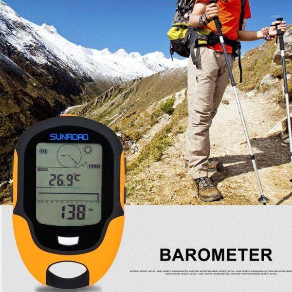 Medidor de Precisão Multifuncional Profissional Sunroad FR500 Altímetro Barômetro Bússola Termômetro Higrômetro IPX4 Lanterna LED Data Hora