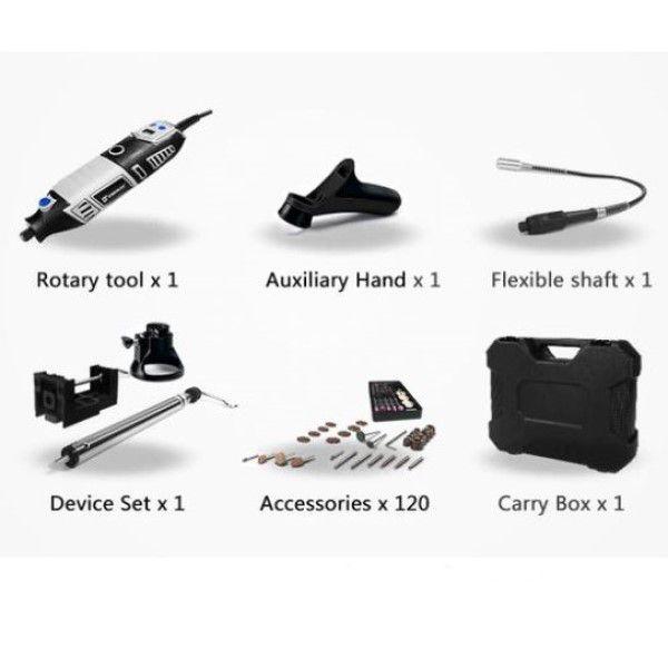 Micro Retífica Elétrica DEKO Kit 126Pçs Ferramenta Rotativa Velocidade Regulável em LCD Eixo Flexível Maleta de Transporte (BTO)