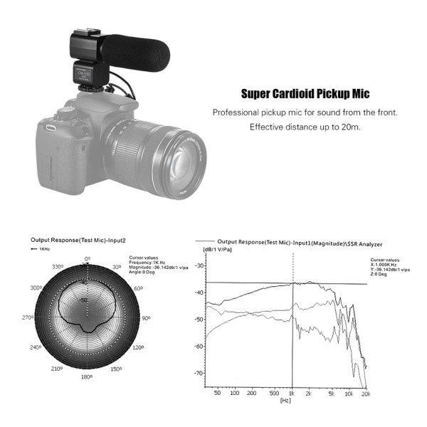 Microfone Externo Ordro Estéreo CM-520 Padrão Universal Para Câmera DSLR Filmadora Digital Ordro Canon Nikon Andoer Sony Smartphones (BTO)